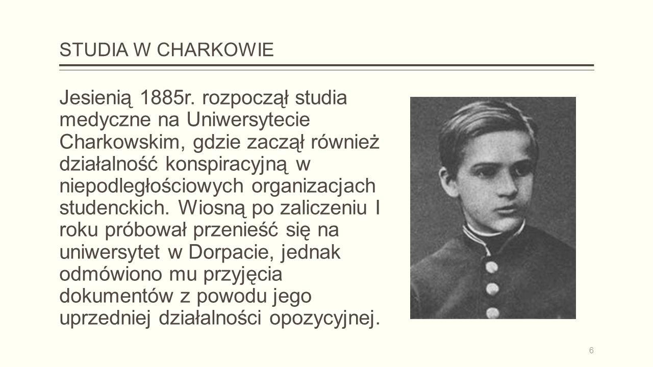 STUDIA W CHARKOWIE Jesienią 1885r.