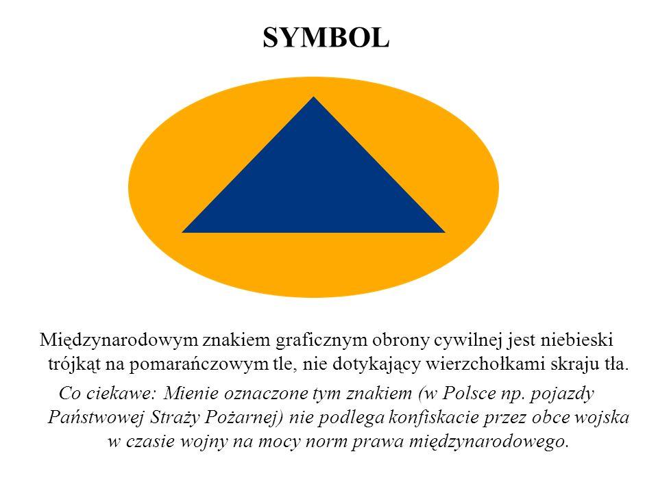 SYMBOL Międzynarodowym znakiem graficznym obrony cywilnej jest niebieski trójkąt na pomarańczowym tle, nie dotykający wierzchołkami skraju tła.