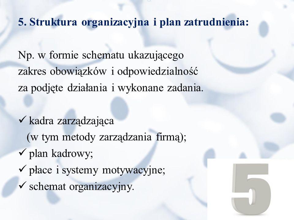 5. Struktura organizacyjna i plan zatrudnienia: Np.