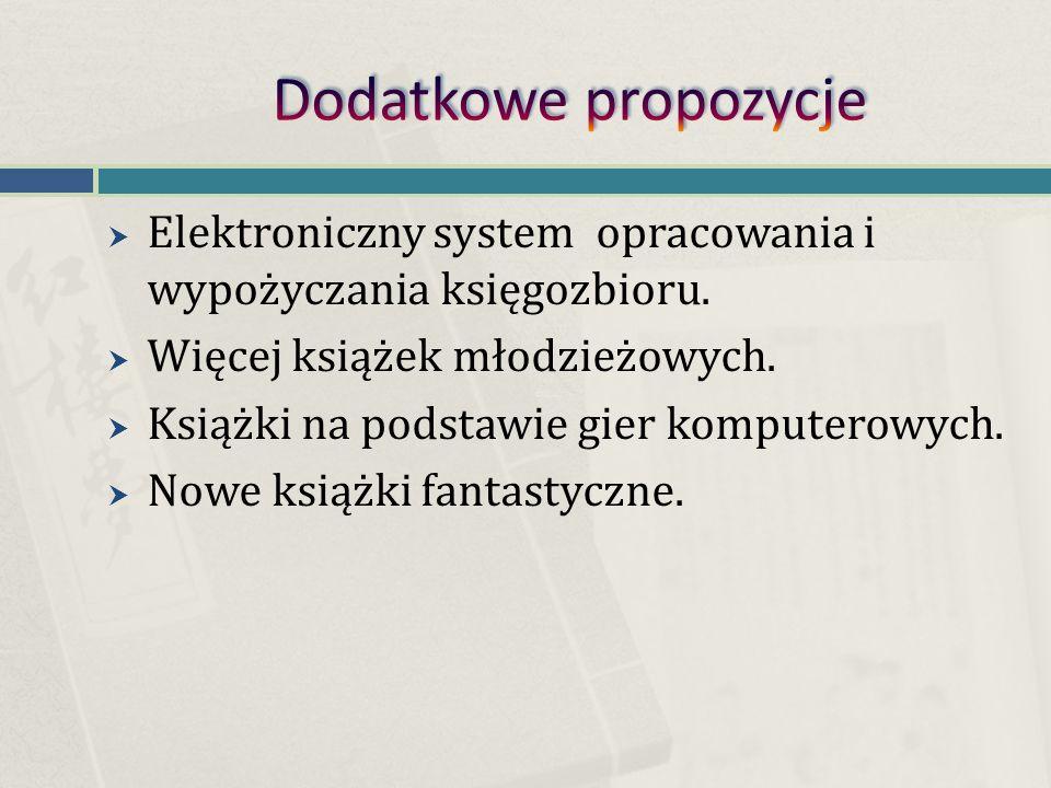  Elektroniczny system opracowania i wypożyczania księgozbioru.