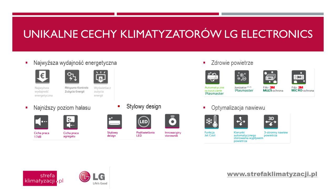 UNIKALNE CECHY KLIMATYZATORÓW LG ELECTRONICS  Najwyższa wydajność energetyczna  Najniższy poziom hałasu  Zdrowie powietrze  Optymalizacja nawiewu  Stylowy design www.strefaklimatyzacji.pl