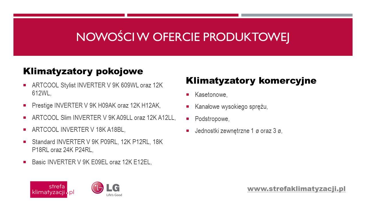 NOWOŚCI W OFERCIE PRODUKTOWEJ Klimatyzatory pokojowe  ARTCOOL Stylist INVERTER V 9K 609WL oraz 12K 612WL,  Prestige INVERTER V 9K H09AK oraz 12K H12AK,  ARTCOOL Slim INVERTER V 9K A09LL oraz 12K A12LL,  ARTCOOL INVERTER V 18K A18BL,  Standard INVERTER V 9K P09RL, 12K P12RL, 18K P18RL oraz 24K P24RL,  Basic INVERTER V 9K E09EL oraz 12K E12EL, Klimatyzatory komercyjne  Kasetonowe,  Kanałowe wysokiego sprężu,  Podstropowe,  Jednostki zewnętrzne 1 ø oraz 3 ø, www.strefaklimatyzacji.pl
