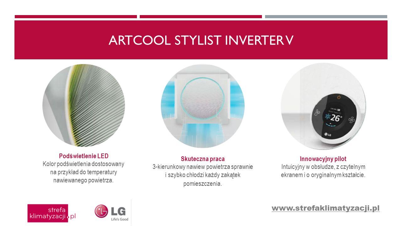ARTCOOL STYLIST INVERTER V Podświetlenie LED Kolor podświetlenia dostosowany na przykład do temperatury nawiewanego powietrza. Skuteczna praca 3-kieru