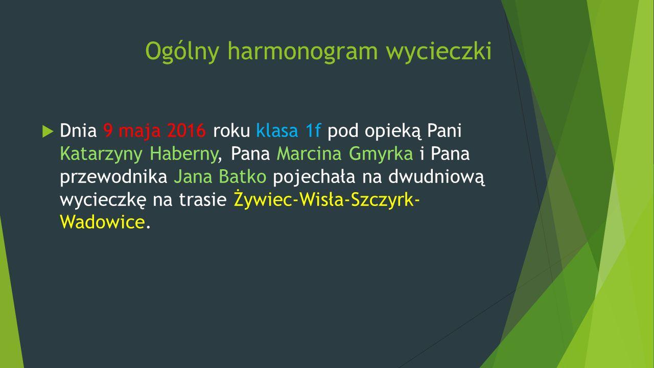 Ogólny harmonogram wycieczki  Dnia 9 maja 2016 roku klasa 1f pod opieką Pani Katarzyny Haberny, Pana Marcina Gmyrka i Pana przewodnika Jana Batko poj