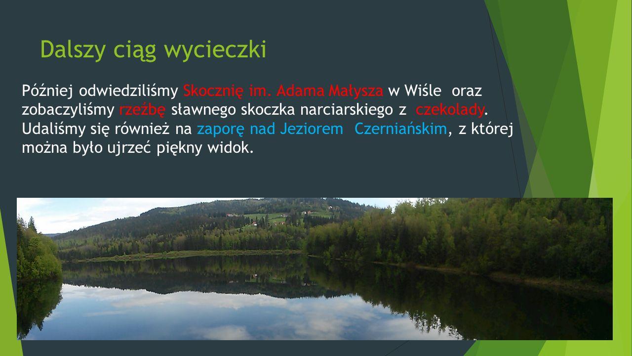 Dalszy ciąg wycieczki Później odwiedziliśmy Skocznię im. Adama Małysza w Wiśle oraz zobaczyliśmy rzeźbę sławnego skoczka narciarskiego z czekolady. Ud