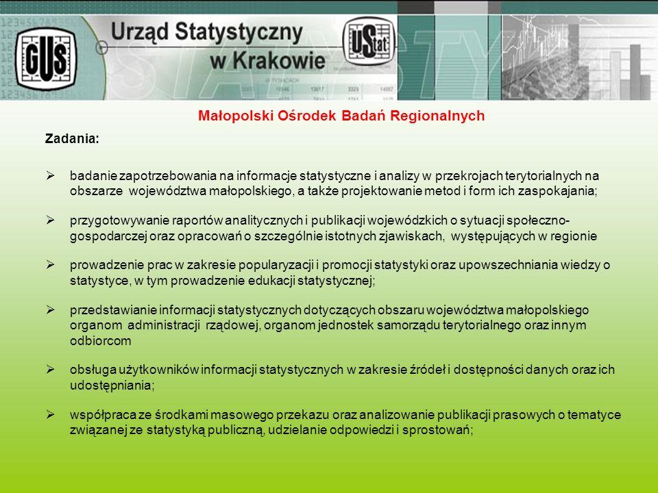 Zadania:  badanie zapotrzebowania na informacje statystyczne i analizy w przekrojach terytorialnych na obszarze województwa małopolskiego, a także pr