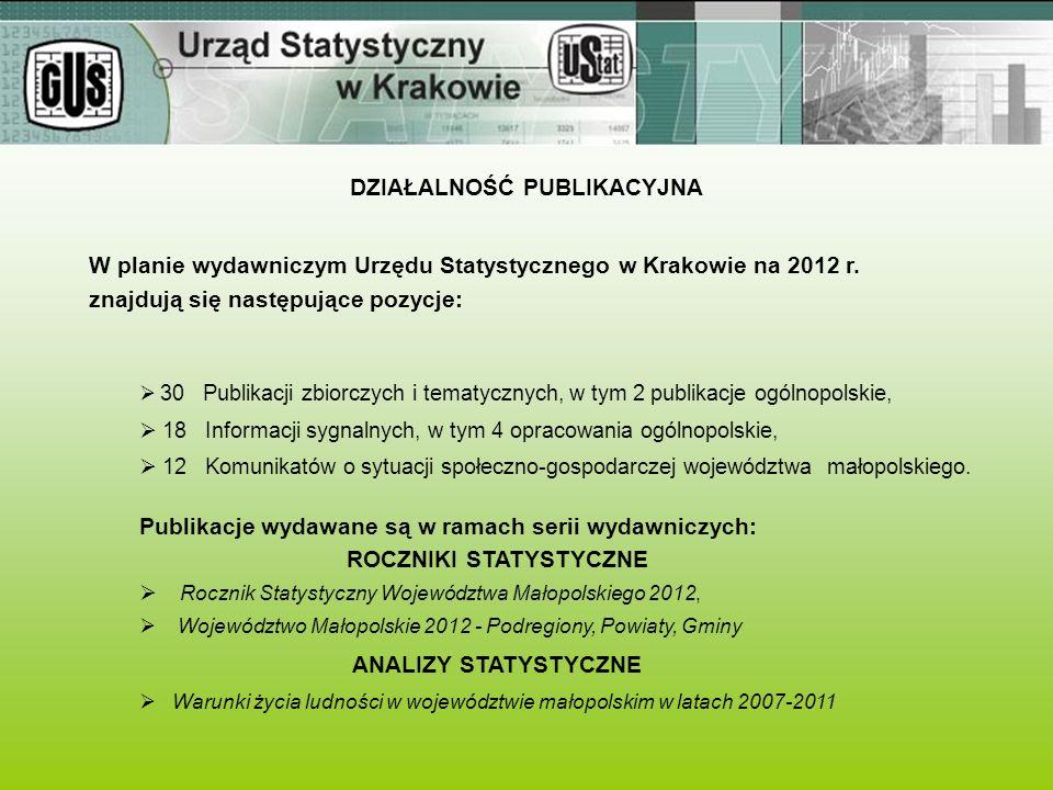 DZIAŁALNOŚĆ PUBLIKACYJNA W planie wydawniczym Urzędu Statystycznego w Krakowie na 2012 r. znajdują się następujące pozycje: Publikacje wydawane są w r