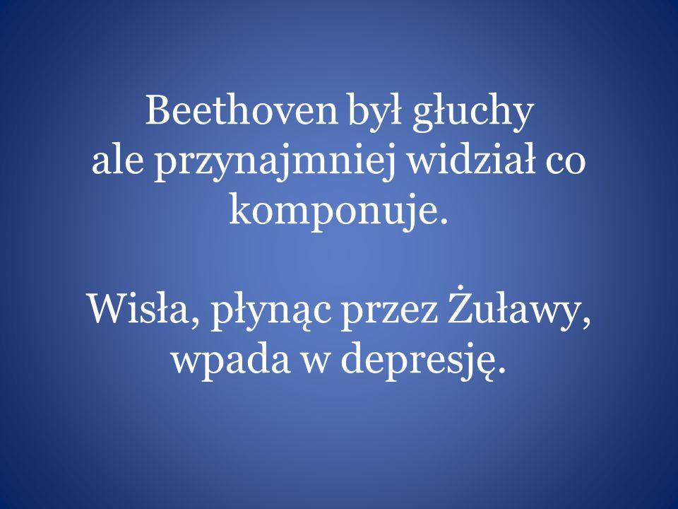 Beethoven był głuchy ale przynajmniej widział co komponuje. Wisła, płynąc przez Żuławy, wpada w depresję.