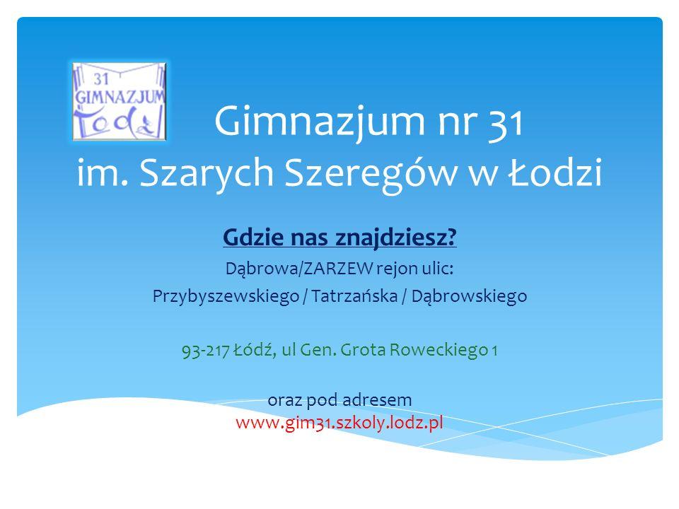 Gimnazjum nr 31 im. Szarych Szeregów w Łodzi Gdzie nas znajdziesz.