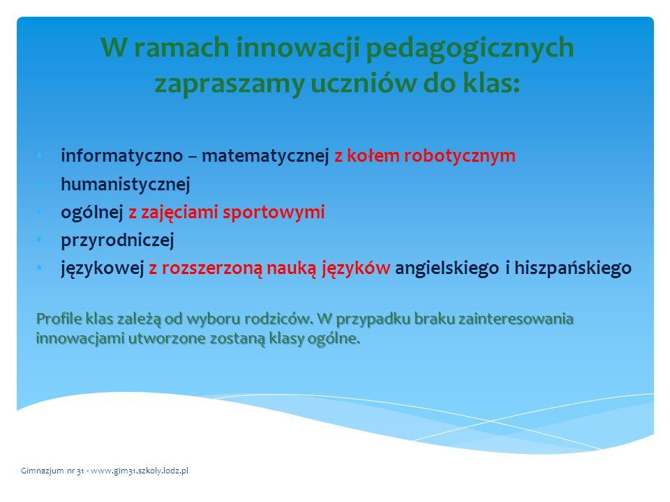 Uczymy się w terenie! Gimnazjum nr 31 - www.gim31.szkoly.lodz.pl