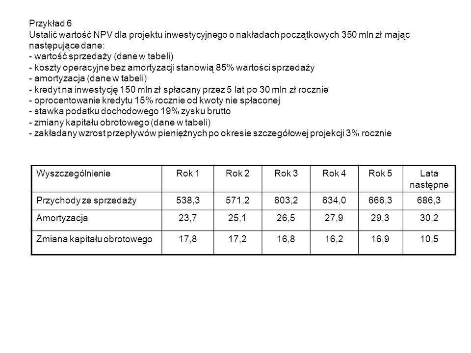 Przykład 6 Ustalić wartość NPV dla projektu inwestycyjnego o nakładach początkowych 350 mln zł mając następujące dane: - wartość sprzedaży (dane w tab