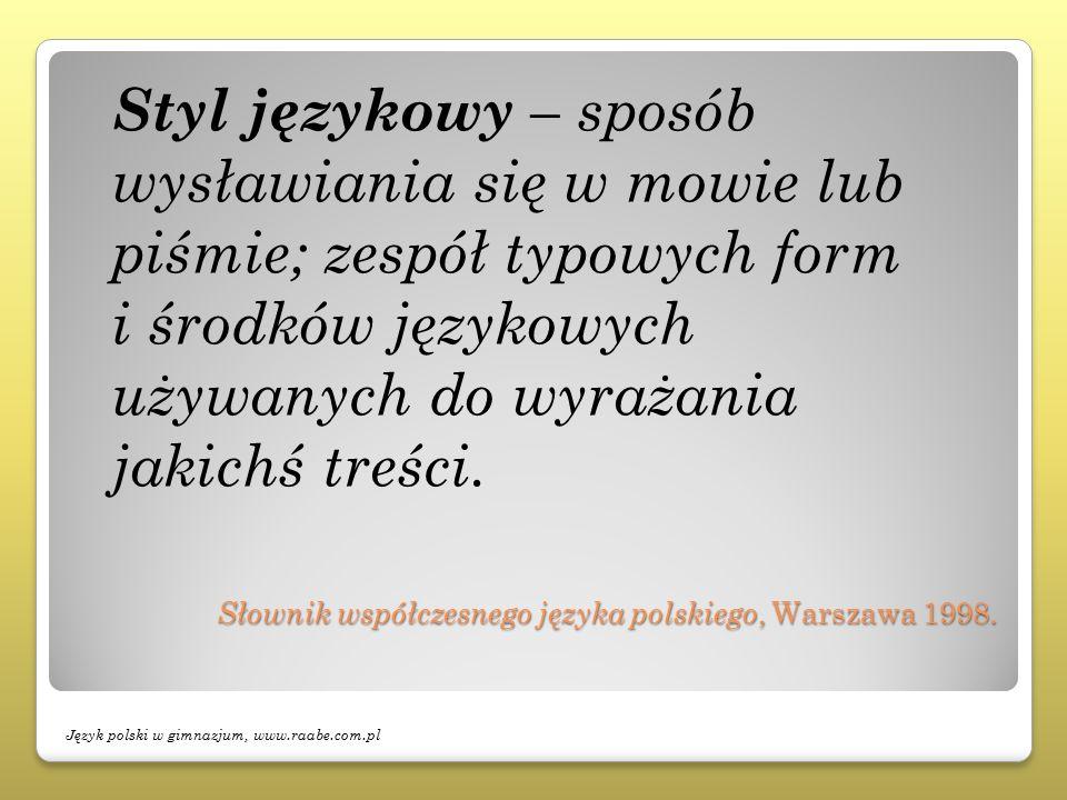 Słownik współczesnego języka polskiego, Warszawa 1998. Słownik współczesnego języka polskiego, Warszawa 1998. Styl językowy – sposób wysławiania się w