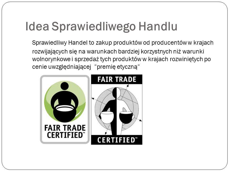 Idea Sprawiedliwego Handlu Sprawiedliwy Handel to zakup produktów od producentów w krajach rozwijających się na warunkach bardziej korzystnych niż war