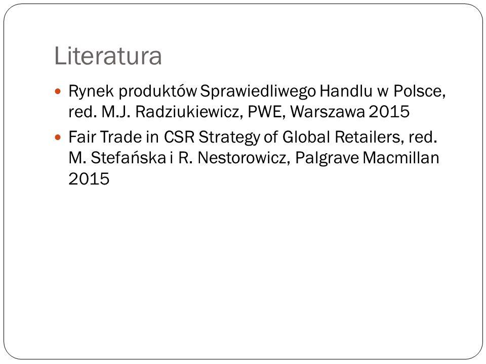 Literatura Rynek produktów Sprawiedliwego Handlu w Polsce, red. M.J. Radziukiewicz, PWE, Warszawa 2015 Fair Trade in CSR Strategy of Global Retailers,