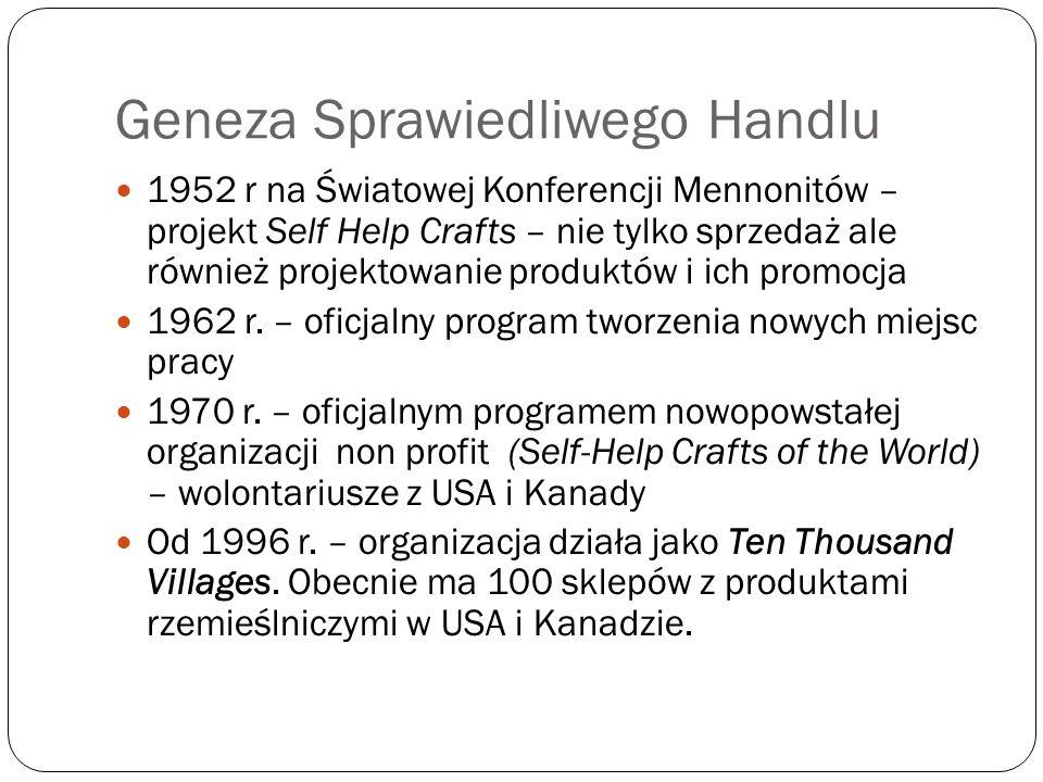 Geneza Sprawiedliwego Handlu 1952 r na Światowej Konferencji Mennonitów – projekt Self Help Crafts – nie tylko sprzedaż ale również projektowanie prod
