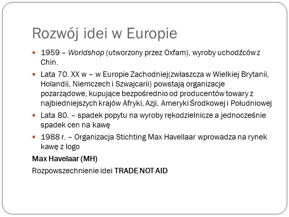 Proces instytucjonalizacji FT 1989 Federacja na Rzecz Alternatywnego Handlu (IFAT), obecnie Światowa Organizacja Sprawiedliwego Handlu (World Fair Trade Organization, WFTO), zrzeszająca producentów, organizacje alternatywnego handlu (ATO) Europejskie Stowarzyszenie Sprawiedliwego Handlu (European Fair Trade Association, EFTA) 1994 – Sieć Europejskich Sklepów Świata (Network of European World Shops, NEWS!) – organizacja zrzeszająca Sklepy Świata Wzrost liczby organizacji certyfikujących 1997 – Międzynarodowa Organizacja Standaryzacji Produktów Sprawiedliwego Handlu (Fairtrade Labelling Organizations International, FLO) 1998 - FLO, IFAT, NEWS.