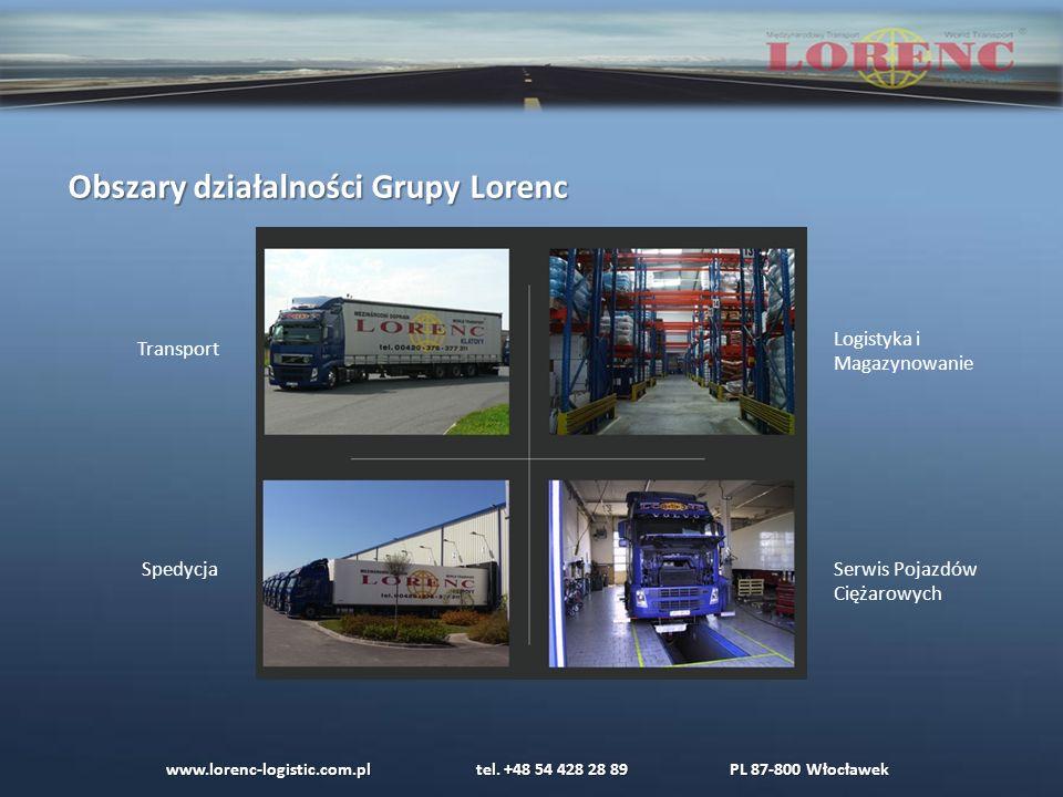 Obszary działalności Grupy Lorenc Transport Spedycja Logistyka i Magazynowanie Serwis Pojazdów Ciężarowych