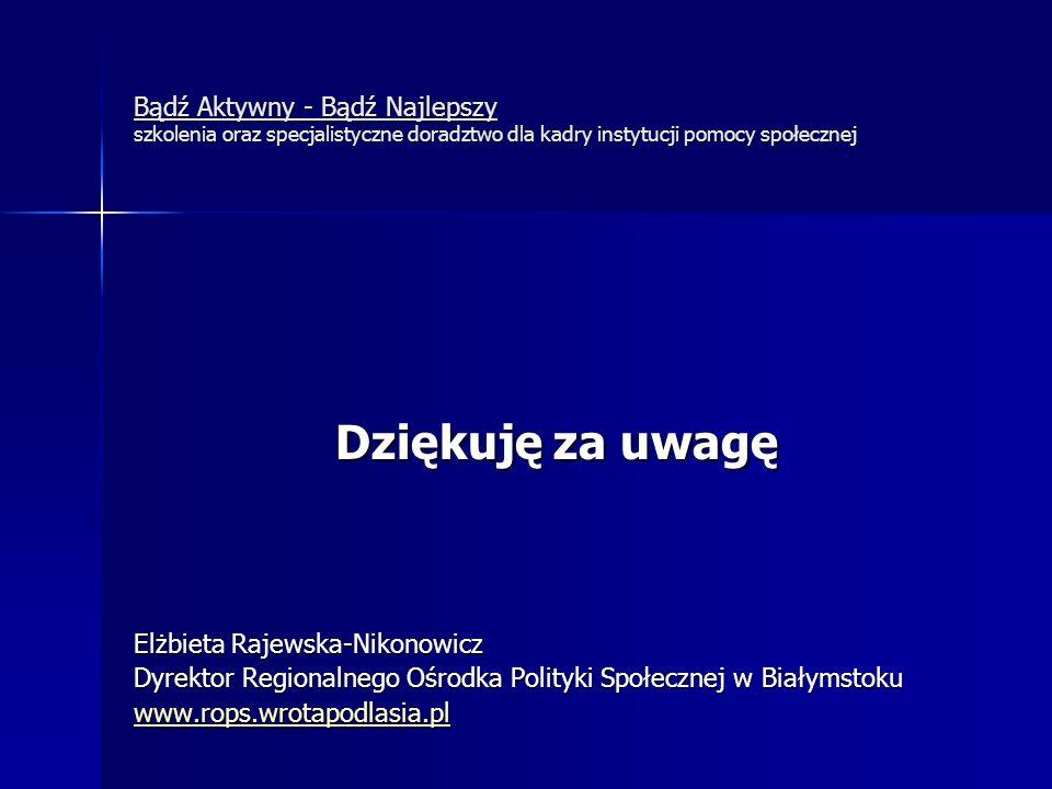 Bądź Aktywny - Bądź Najlepszy szkolenia oraz specjalistyczne doradztwo dla kadry instytucji pomocy społecznej Dziękuję za uwagę Elżbieta Rajewska-Niko