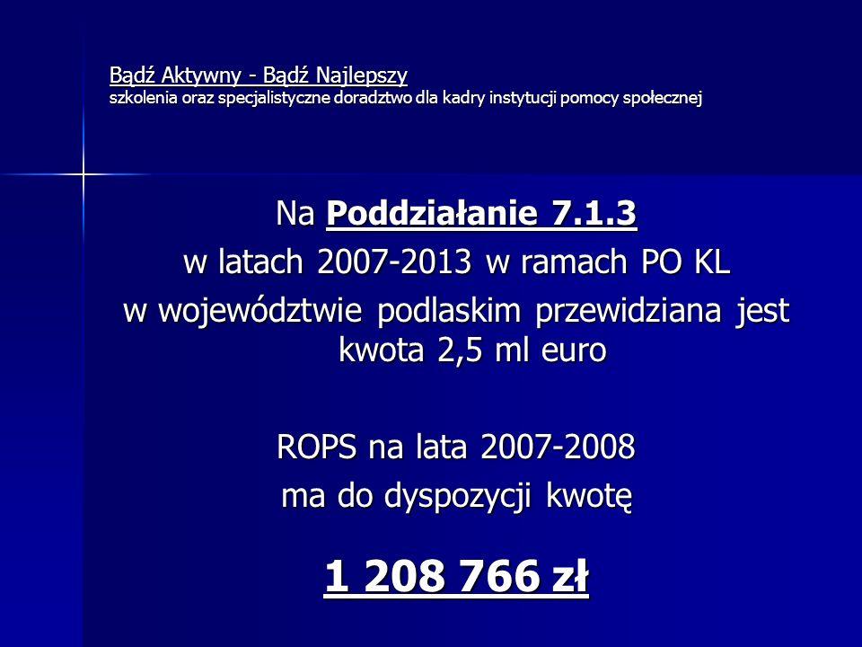 Bądź Aktywny - Bądź Najlepszy szkolenia oraz specjalistyczne doradztwo dla kadry instytucji pomocy społecznej Na Poddziałanie 7.1.3 w latach 2007-2013 w ramach PO KL w województwie podlaskim przewidziana jest kwota 2,5 ml euro ROPS na lata 2007-2008 ma do dyspozycji kwotę 1 208 766 zł