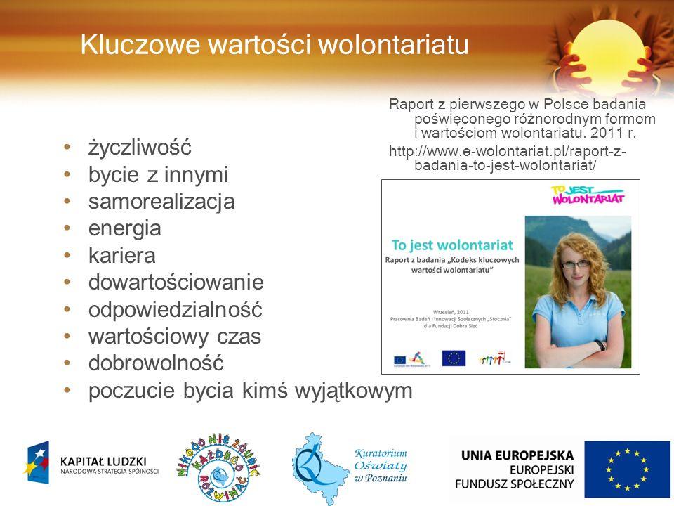 Kluczowe wartości wolontariatu Raport z pierwszego w Polsce badania poświęconego różnorodnym formom i wartościom wolontariatu.