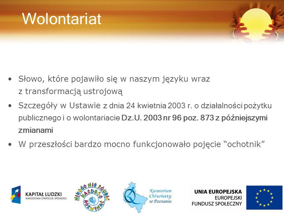 Wolontariat Słowo, które pojawiło się w naszym języku wraz z transformacją ustrojową Szczegóły w Ustawie z dnia 24 kwietnia 2003 r.