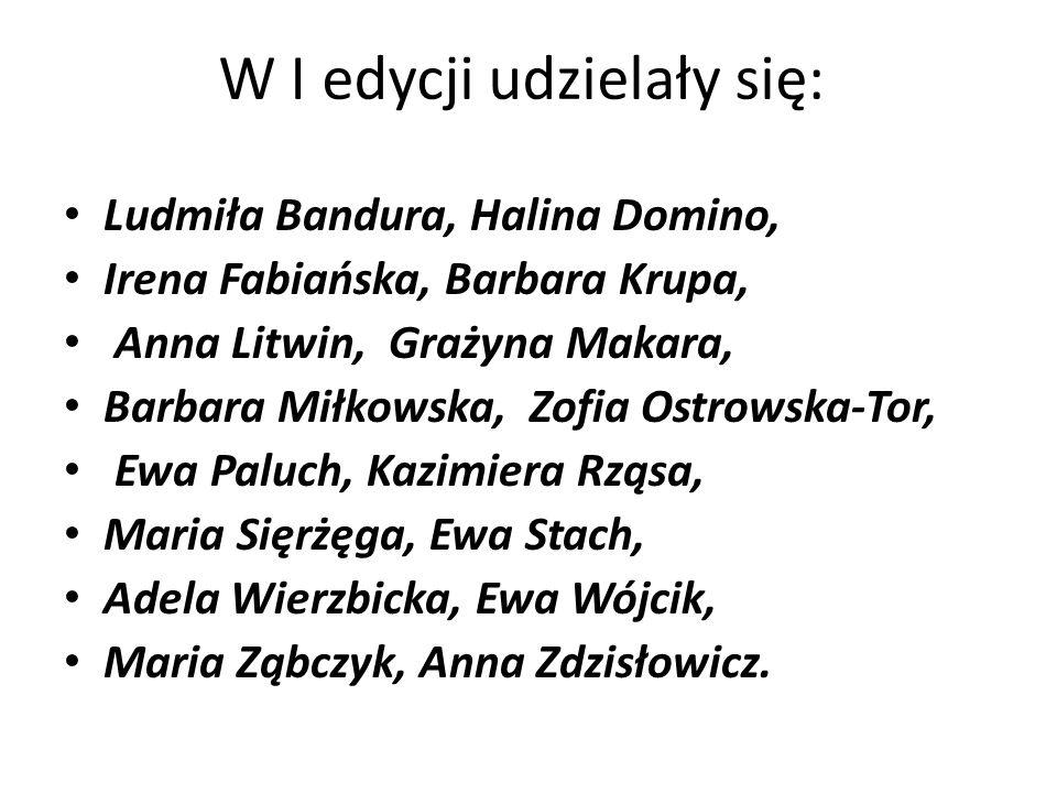W II edycji udzielały się: Małgorzata Chlebowska, Irena Fabiańska, Marta Jadam, Joanna Koszela, Anna Litwin, Grażyna Makara, Barbara Miłkowska, Adela Wierzbicka, Ewa Wójcik, Maria Ząbczyk, Maria Sierżęga oraz 11 studentów Wydz.