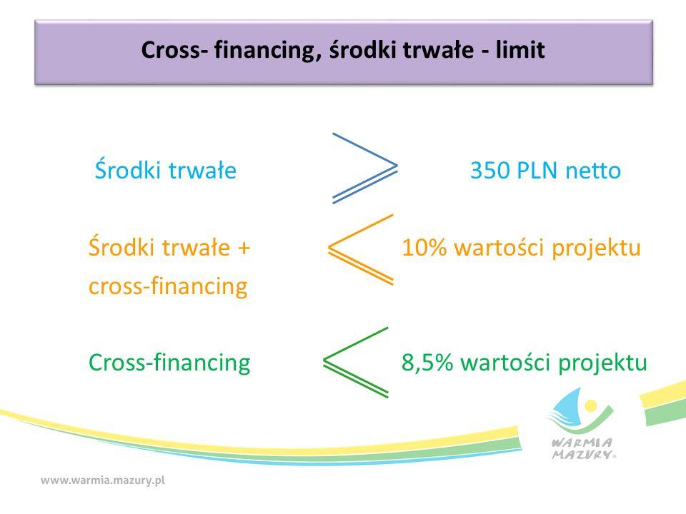 Cross- financing, środki trwałe - limit Środki trwałe 350 PLN netto Środki trwałe +10% wartości projektu cross-financing Cross-financing 8,5% wartości