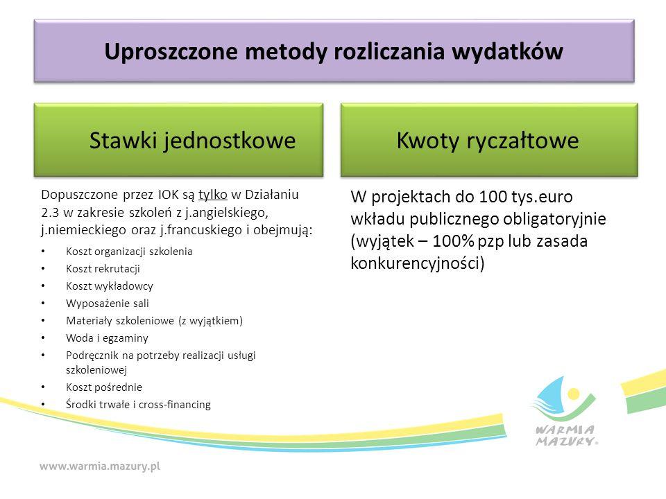 Uproszczone metody rozliczania wydatków Stawki jednostkowe Kwoty ryczałtowe Dopuszczone przez IOK są tylko w Działaniu 2.3 w zakresie szkoleń z j.angi