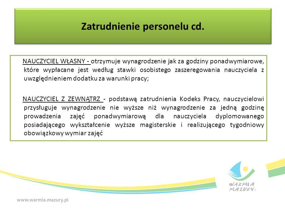 Zatrudnienie personelu cd. NAUCZYCIEL WŁASNY - otrzymuje wynagrodzenie jak za godziny ponadwymiarowe, które wypłacane jest według stawki osobistego za