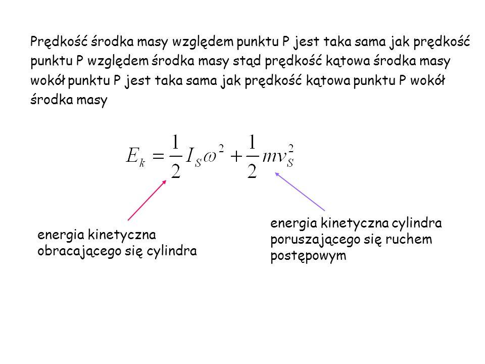 Prędkość środka masy względem punktu P jest taka sama jak prędkość punktu P względem środka masy stąd prędkość kątowa środka masy wokół punktu P jest