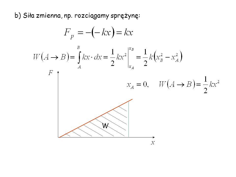 b) Siła zmienna, np. rozciągamy sprężynę: W