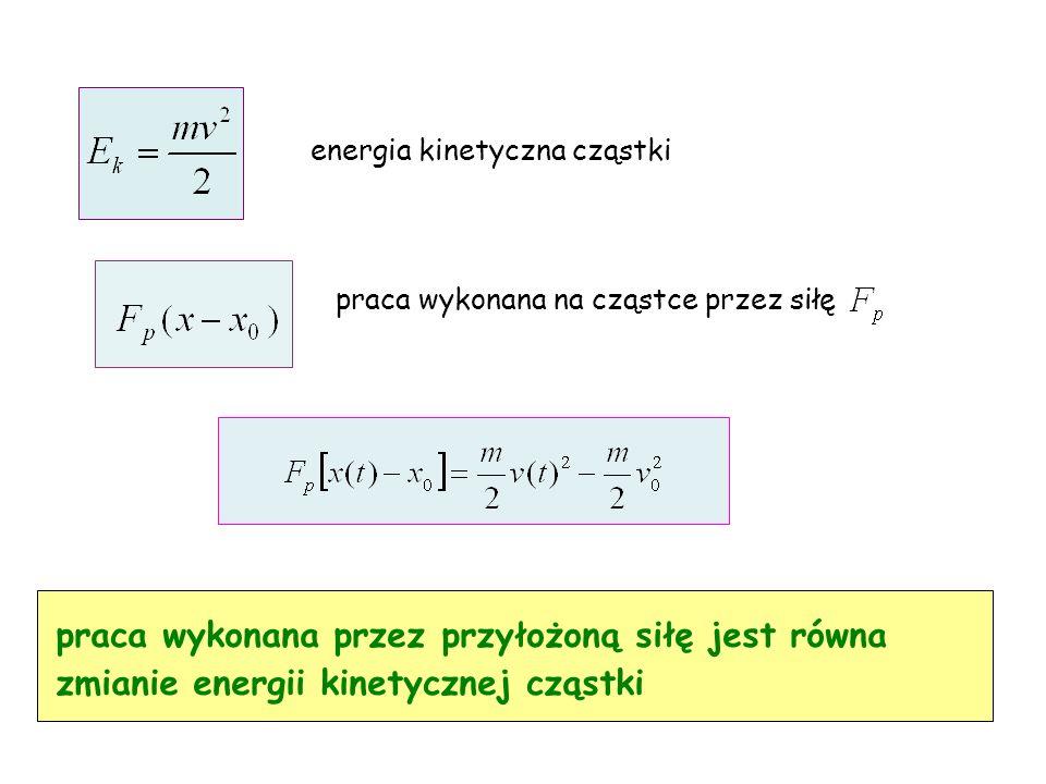 energia kinetyczna cząstki praca wykonana przez przyłożoną siłę jest równa zmianie energii kinetycznej cząstki praca wykonana na cząstce przez siłę
