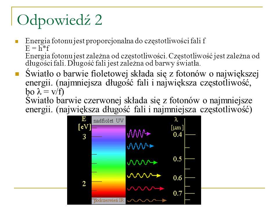 Odpowiedź 2 Energia fotonu jest proporcjonalna do częstotliwości fali f E = h*f Energia fotonu jest zależna od częstotliwości. Częstotliwość jest zale