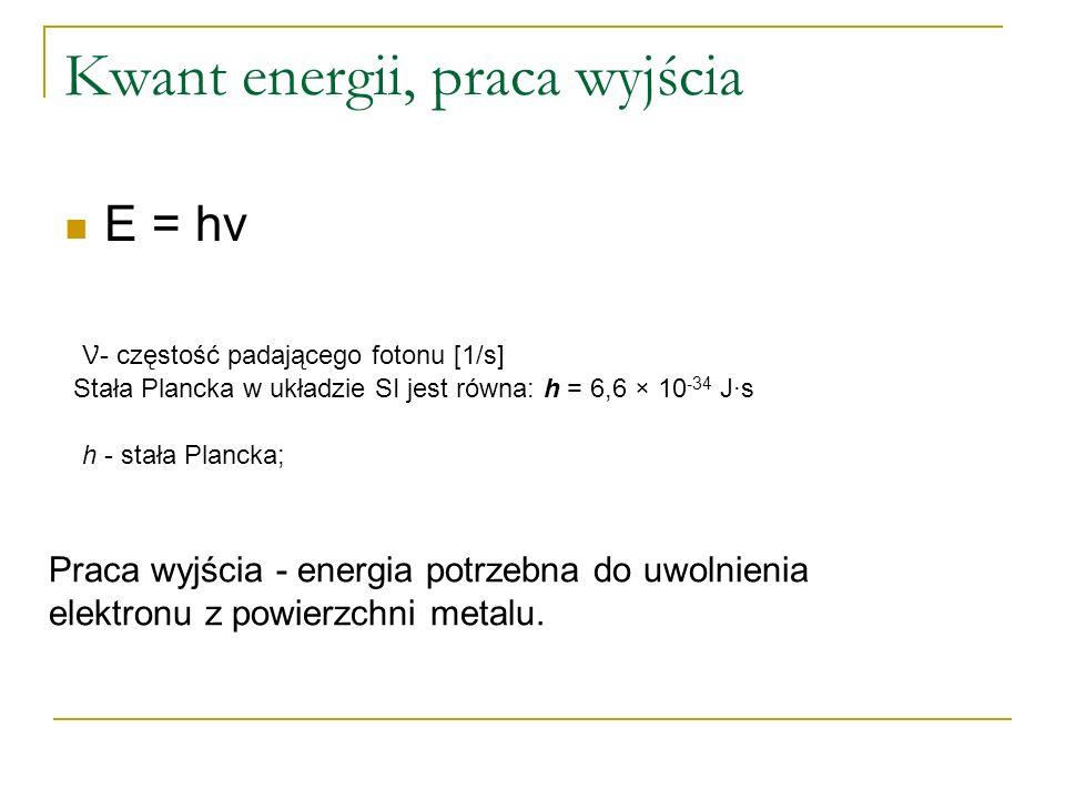 Kwant energii, praca wyjścia E = hv h - stała Plancka; Stała Plancka w układzie SI jest równa: h = 6,6 × 10 -34 J·s Praca wyjścia - energia potrzebna