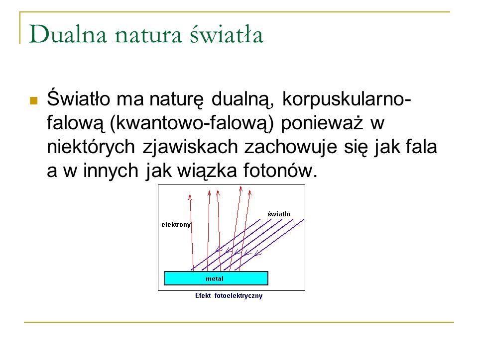 Odpowiedź 2 Energia fotonu jest proporcjonalna do częstotliwości fali f E = h*f Energia fotonu jest zależna od częstotliwości.