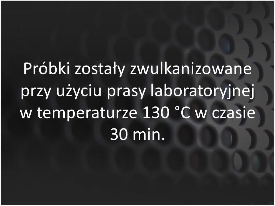 Próbki zostały zwulkanizowane przy użyciu prasy laboratoryjnej w temperaturze 130 °C w czasie 30 min.