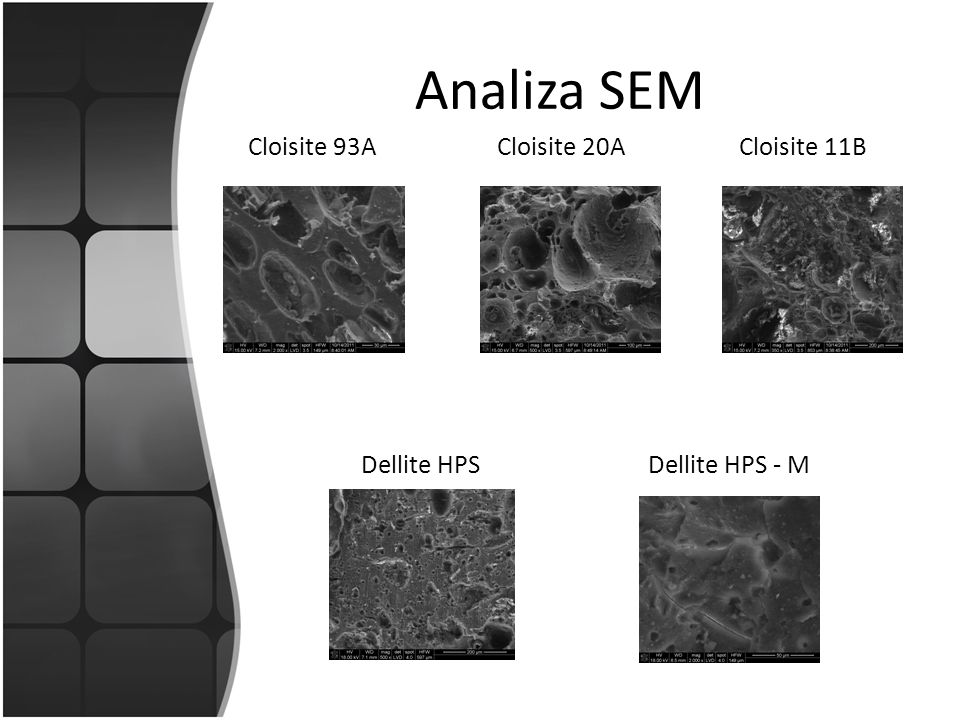Analiza SEM Cloisite 93ACloisite 20ACloisite 11B Dellite HPSDellite HPS - M