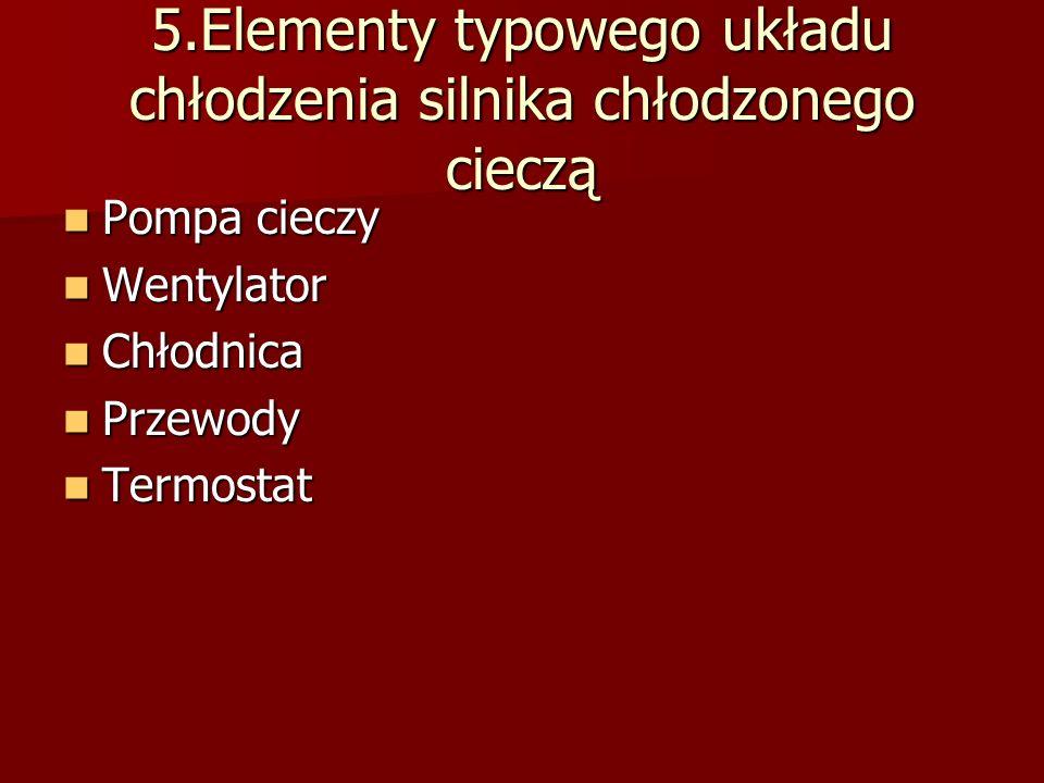 5.Elementy typowego układu chłodzenia silnika chłodzonego cieczą Pompa cieczy Pompa cieczy Wentylator Wentylator Chłodnica Chłodnica Przewody Przewody