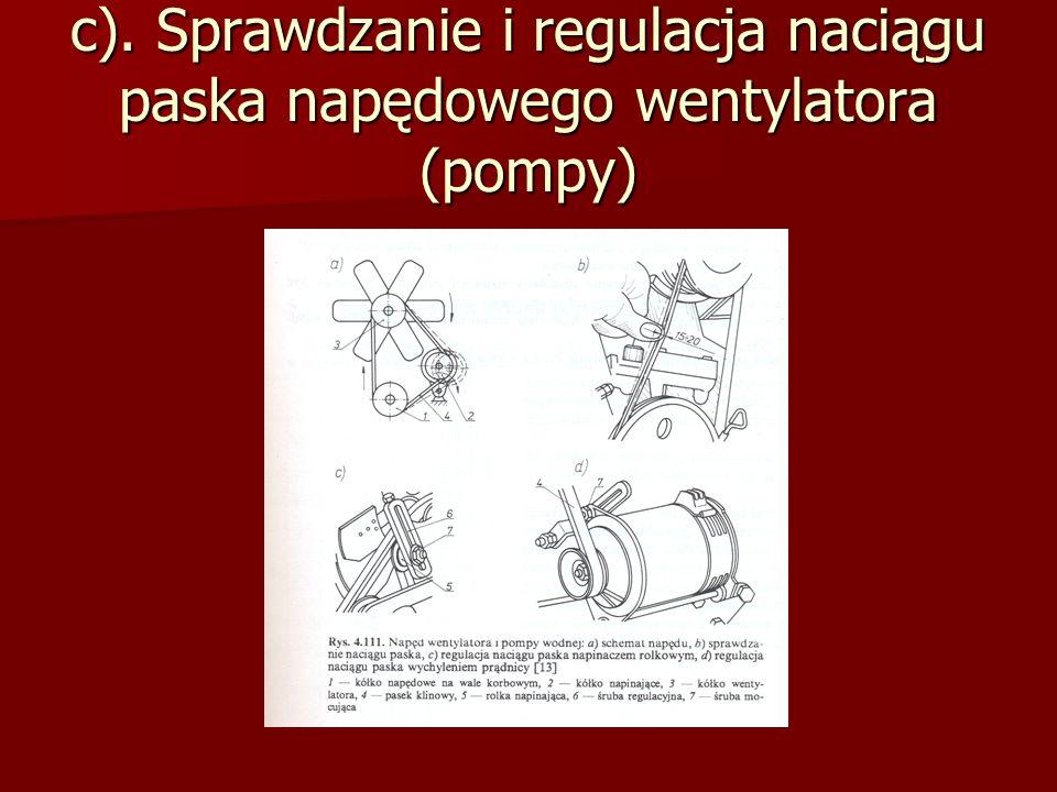 c). Sprawdzanie i regulacja naciągu paska napędowego wentylatora (pompy)