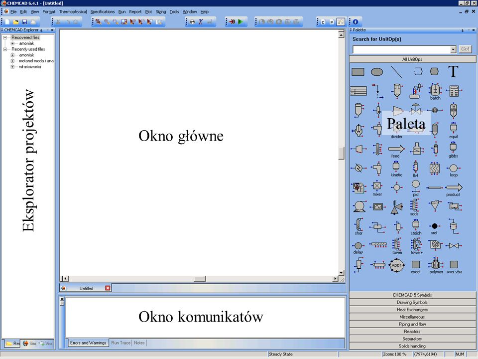 Okno główne Eksplorator projektów Okno komunikatów Paleta