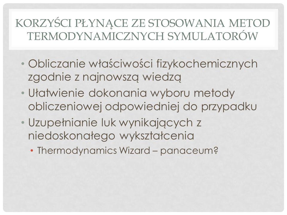 KORZYŚCI PŁYNĄCE ZE STOSOWANIA METOD TERMODYNAMICZNYCH SYMULATORÓW Obliczanie właściwości fizykochemicznych zgodnie z najnowszą wiedzą Ułatwienie dokonania wyboru metody obliczeniowej odpowiedniej do przypadku Uzupełnianie luk wynikających z niedoskonałego wykształcenia Thermodynamics Wizard – panaceum
