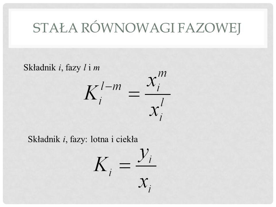 STAŁA RÓWNOWAGI FAZOWEJ Składnik i, fazy l i m Składnik i, fazy: lotna i ciekła