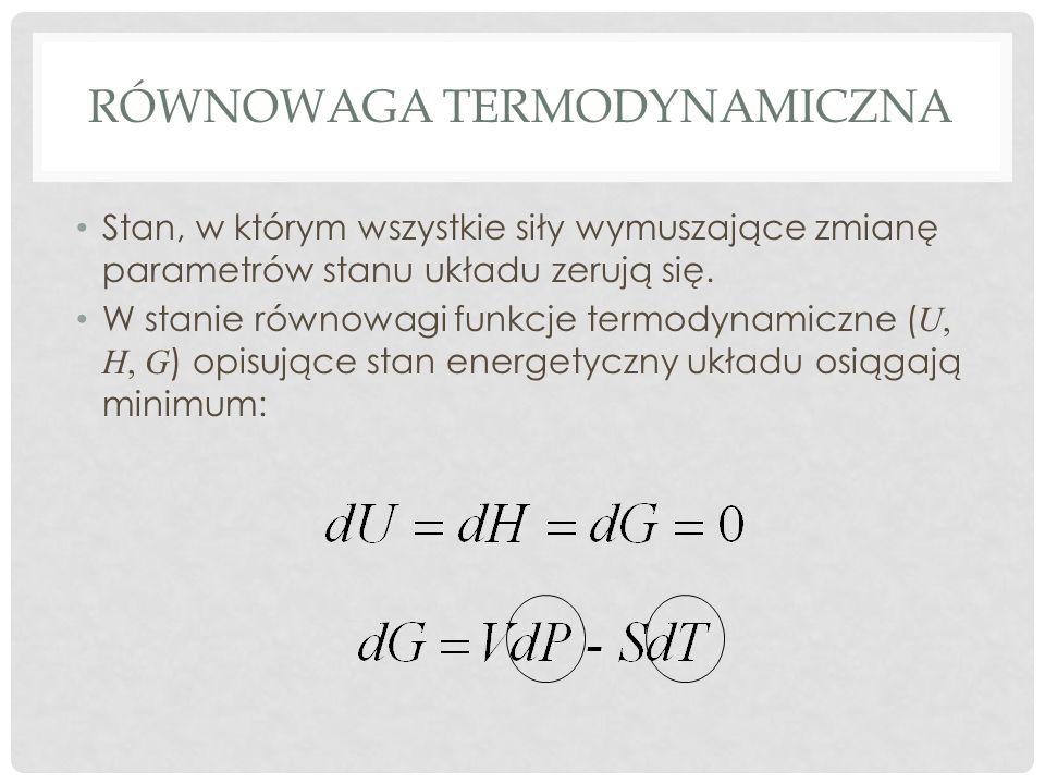 RÓWNOWAGA TERMODYNAMICZNA Stan, w którym wszystkie siły wymuszające zmianę parametrów stanu układu zerują się. W stanie równowagi funkcje termodynamic