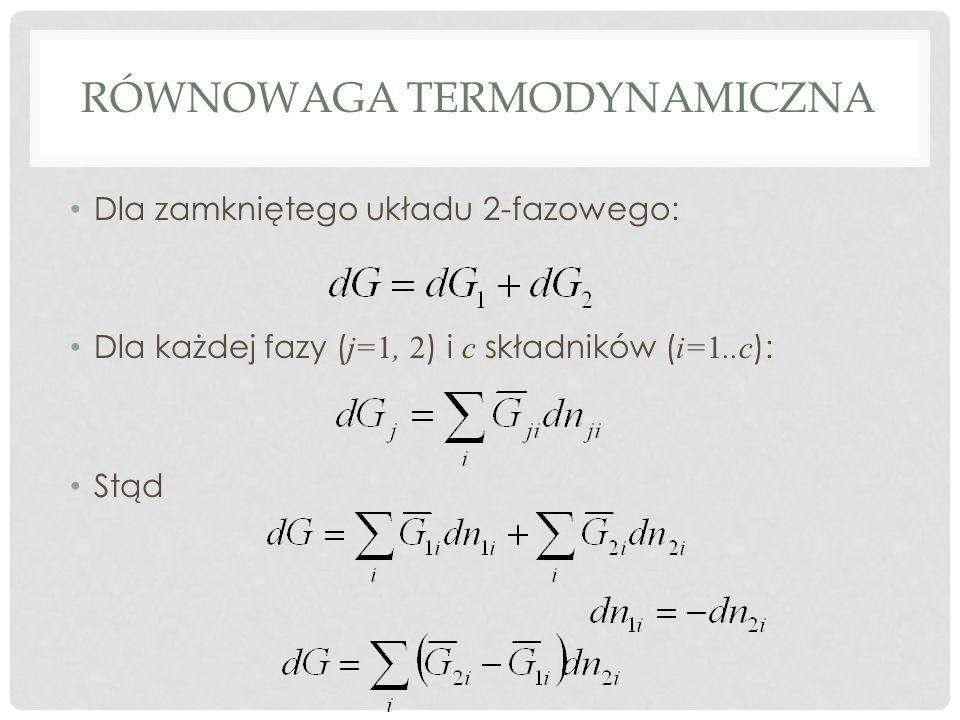 RÓWNOWAGA TERMODYNAMICZNA Dla zamkniętego układu 2-fazowego: Dla każdej fazy ( j=1, 2 ) i c składników ( i=1..c ): Stąd