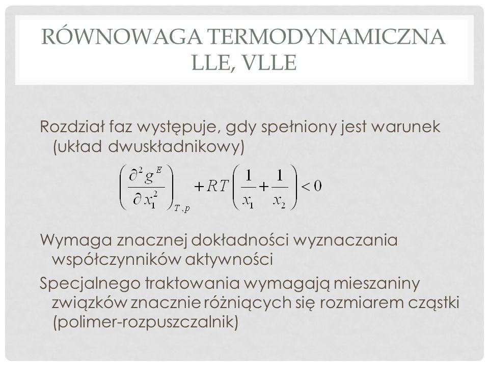 RÓWNOWAGA TERMODYNAMICZNA LLE, VLLE Rozdział faz występuje, gdy spełniony jest warunek (układ dwuskładnikowy) Wymaga znacznej dokładności wyznaczania współczynników aktywności Specjalnego traktowania wymagają mieszaniny związków znacznie różniących się rozmiarem cząstki (polimer-rozpuszczalnik)