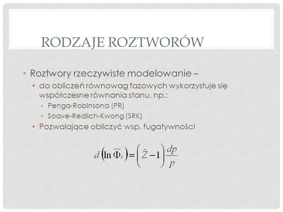 RODZAJE ROZTWORÓW Roztwory rzeczywiste modelowanie – do obliczeń równowag fazowych wykorzystuje się współczesne równania stanu, np.: Penga-Robinsona (PR) Soave-Redlich-Kwong (SRK) Pozwalające obliczyć wsp.