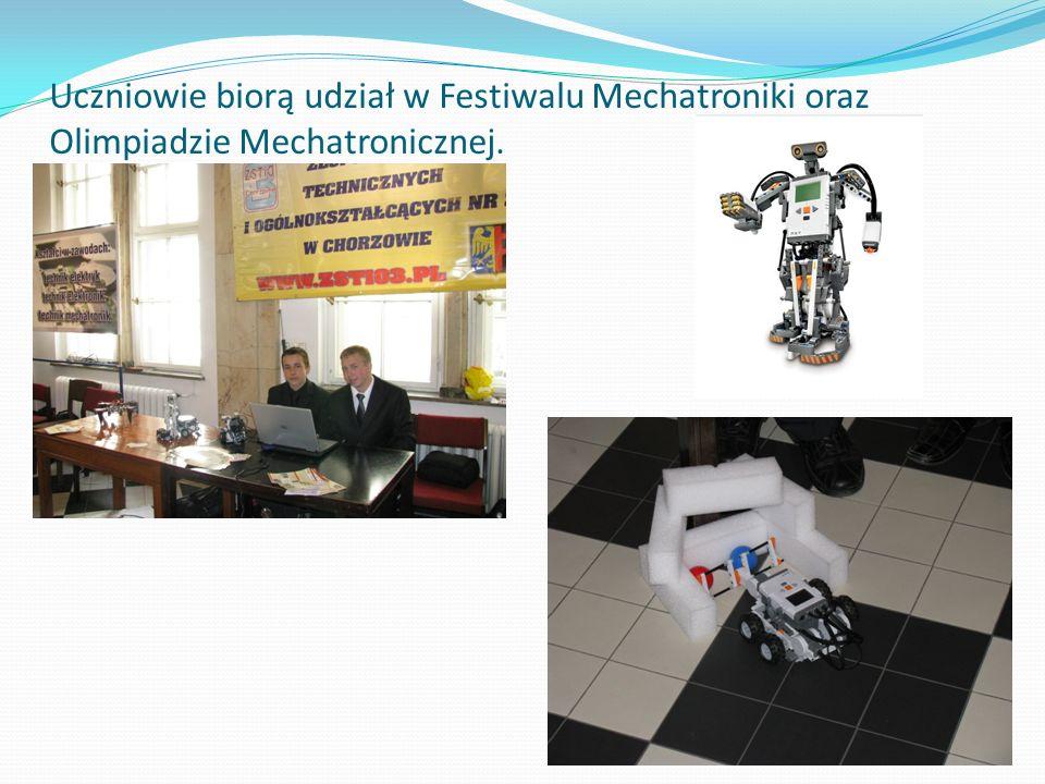 Uczniowie biorą udział w Festiwalu Mechatroniki oraz Olimpiadzie Mechatronicznej.