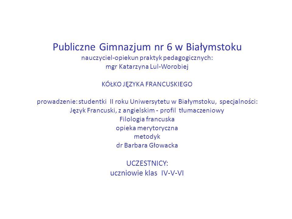 IV kółko języka francuskiego 1 kwietnia 2016 Cele: -psychopedagogiczny: poznanie nowych prowadzących (Ewa, Ewelina); integracja grupy; podtrzymanie zasad pracy (kontrakt: systematyczność, zeszyt, uśmiech, współpraca z nauczycielkami), -komunikacyjny: reagowanie na pytanie: Qui est-ce.