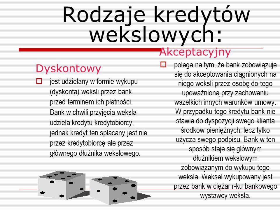 Słownik przydatnych terminów  Bank dyskontujący – bank nabywający weksel  Podawca weksla, dyskonter – osoba przenosząca prawa z weksla  Dłużnicy wekslowi