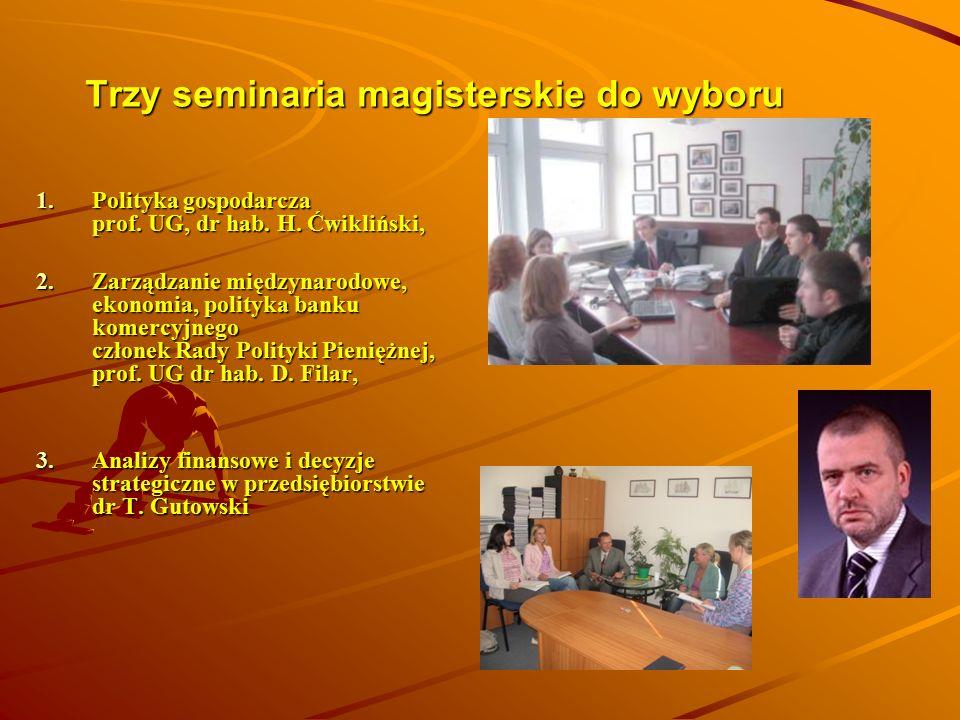 Trzy seminaria magisterskie do wyboru 1.Polityka gospodarcza prof. UG, dr hab. H. Ćwikliński, 2.Zarządzanie międzynarodowe, ekonomia, polityka banku k
